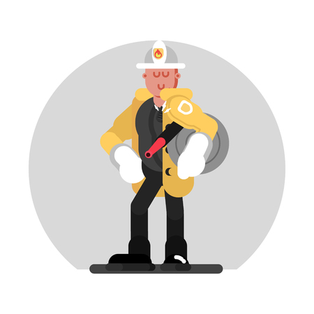 Fireman standing with fire hose Vector illustration.