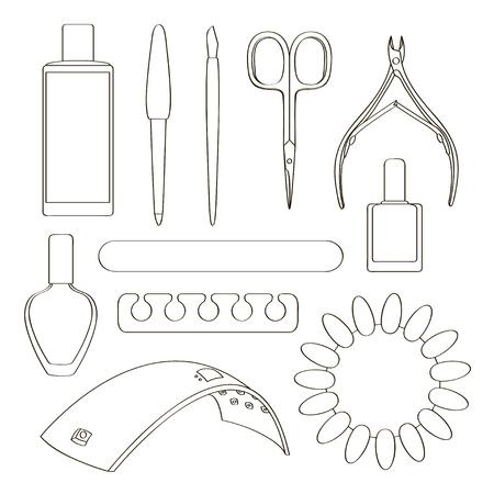 Nail salon set with nail cutter, nail polish Vector illustration. Stock Illustratie