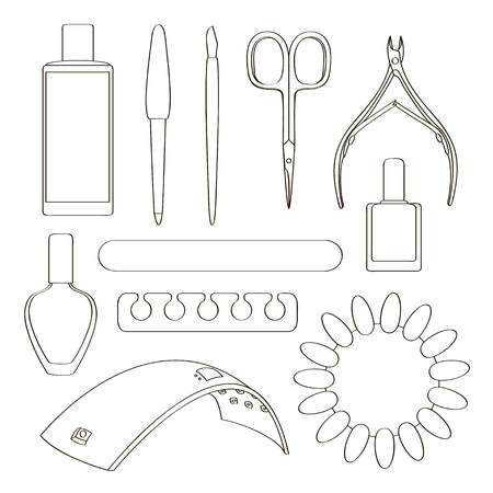 Nail salon set with nail cutter, nail polish Vector illustration. Illustration