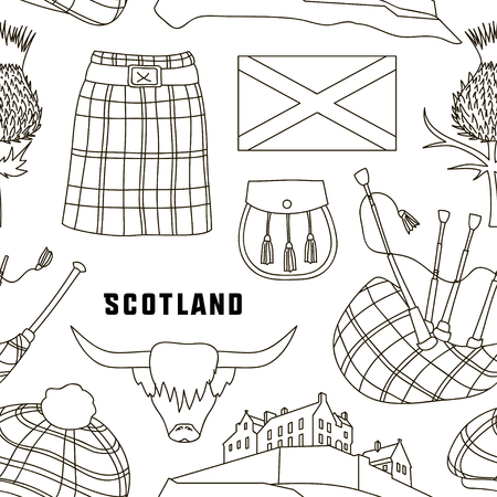 Scotland country set icons pattern