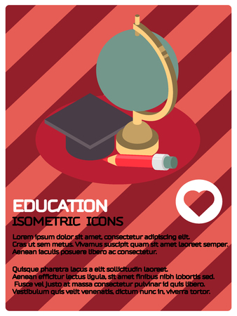 Education color isometric poster. Vector illustration, EPS 10. Illustration