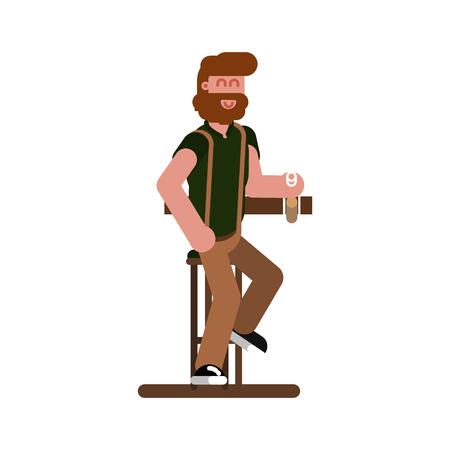Man in bar drinks a beer 向量圖像