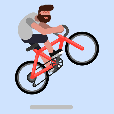 Man jumps on a bicycle