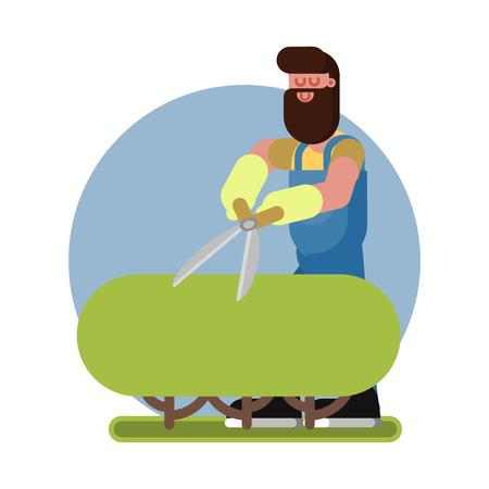 Man takes care of a bush