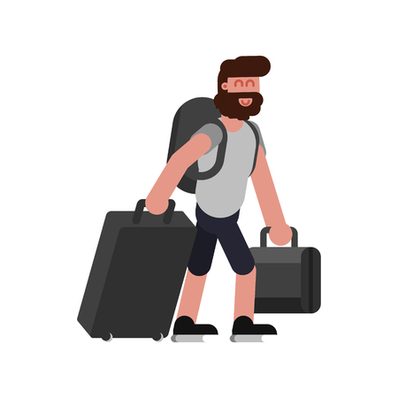 Man with traveling bags