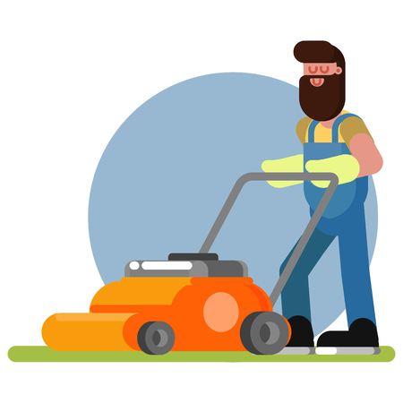 Man works with a lawn mower
