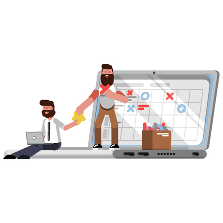 Planning and organization helpers on laptop. Vector illustration.