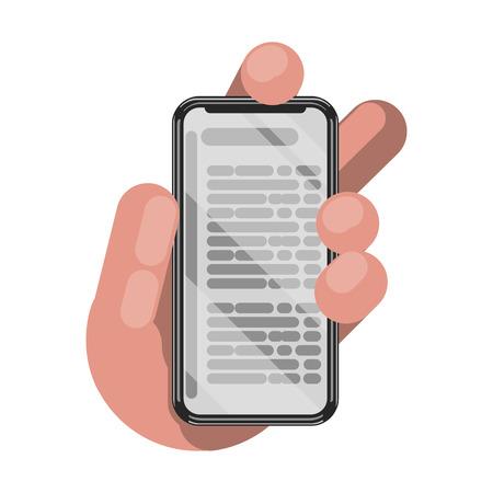 Reading books on phone. Vector illustration.