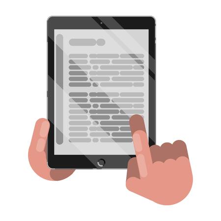 Reading books on tablet. Vector illustration.