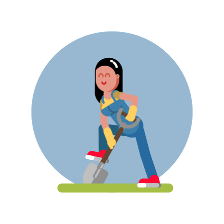 Woman digging the ground