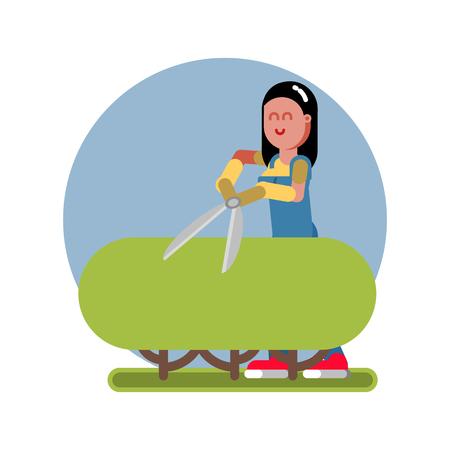 Woman takes care of a bush  イラスト・ベクター素材