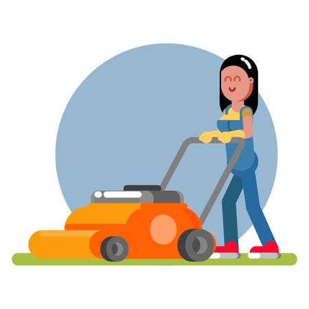 femme travaille avec une tondeuse à gazon