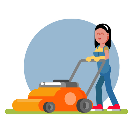 Woman works with a lawn mower