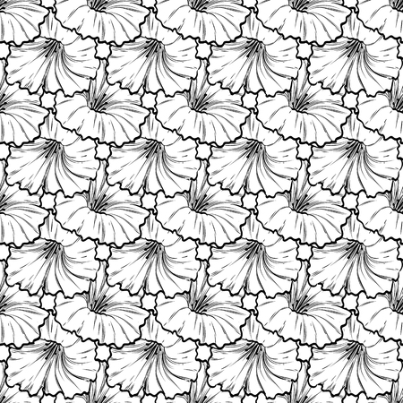 Vector hand drawn petunya seamless pattern of flowers and leaves isolated on white background Illustration
