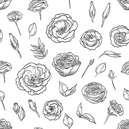 Vector hand drawn lisianthus seamless pattern
