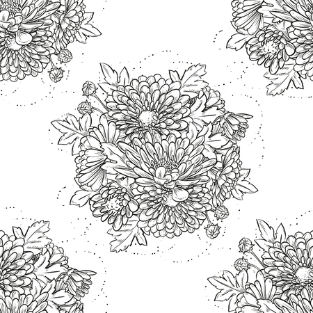 Vector seamless pattern, big bouquet of chrysanthemum flowers, isolated on white background, sketch art