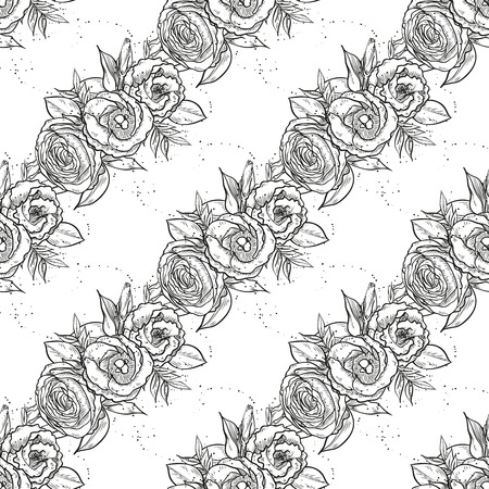 Vector bouquet of lisianthus flowers, seamless pattern, isolated on white background, sketch art  イラスト・ベクター素材