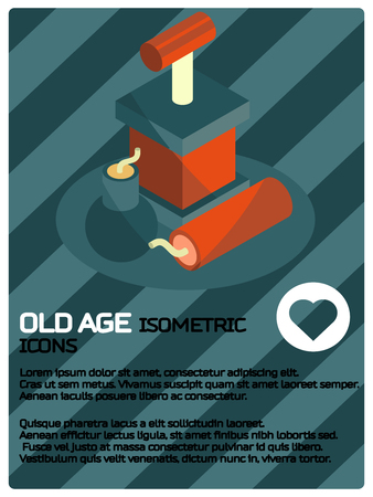 Pyrotechnics icon isometric poster illustration. Vecteurs