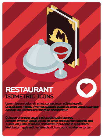 Restaurant color isometric poster Illustration
