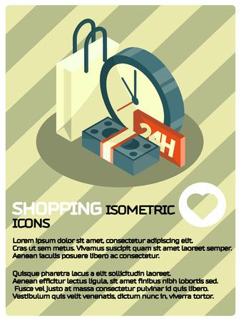Affiche isométrique de couleur Shopping. Illustration vectorielle, EPS 10