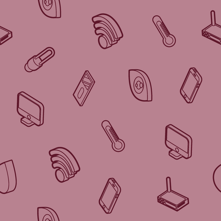 Home appliances or gadgets outline isometric pattern. Illustration