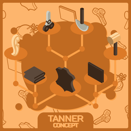 Tanner color concept isometric icons.