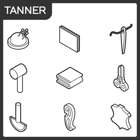 Tanner outline isometric icons. 일러스트