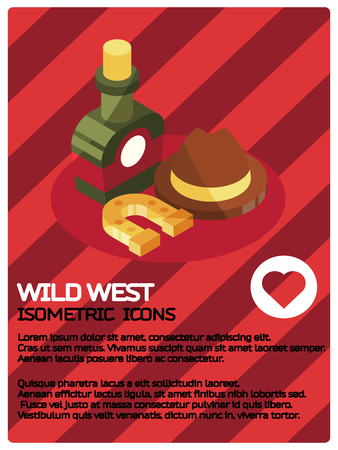 Wild west color isometric concept icons.