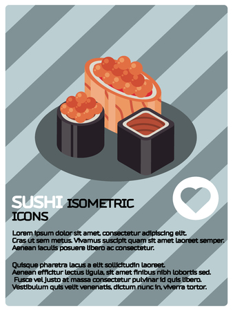 Sushi color isomeric poster. Vector illustration,