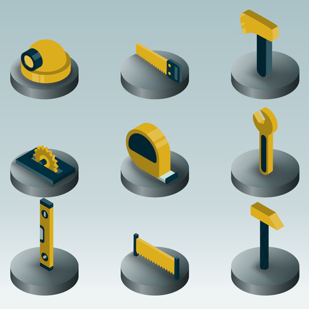 Work shop color isometric icons. Illustration