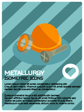 Metallurgy color isometric poster. Melting iron. Metal casting process. Vector illustration.