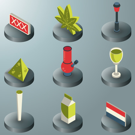 Holland color isometric icons. Vector illustration.
