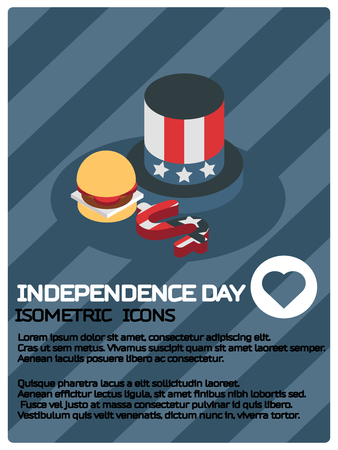 Independence day color isometric poster. Vector illustration.