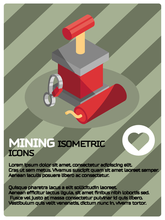 Mining color isometric poster. Vector illustration.