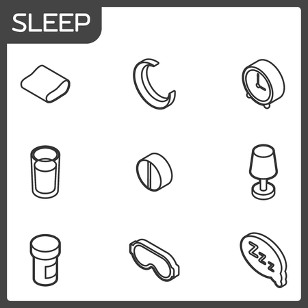 Sleep outline isometric icons. Vector illustration.
