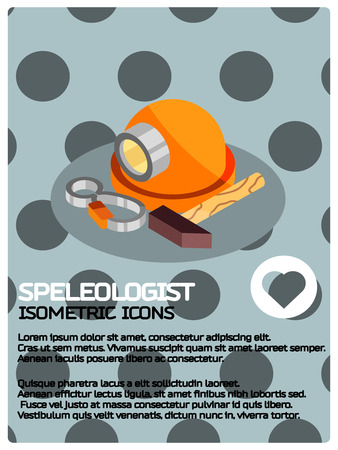 Speleologist color isometric poster. Vector illustration. Vectores