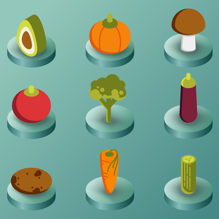 Vegetebles color isometric icons 일러스트