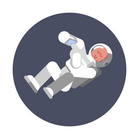 Man cosmonaut fly in zero gravitation 向量圖像