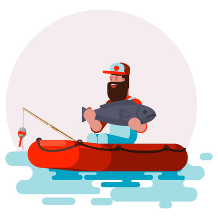 Man in boat with big fish in his hands  イラスト・ベクター素材