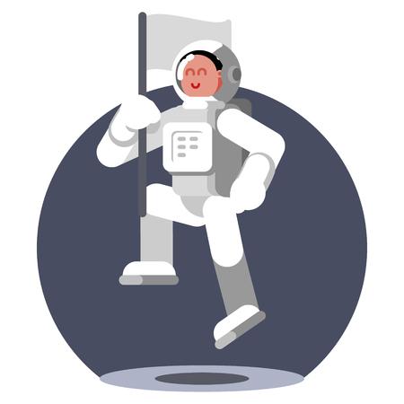 Woman cosmonaut fly in zero gravitation