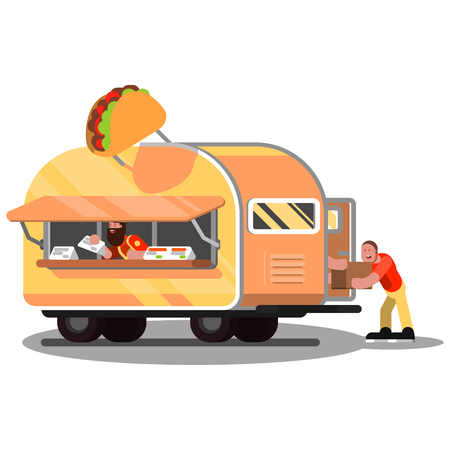 Workers in mexican food truck