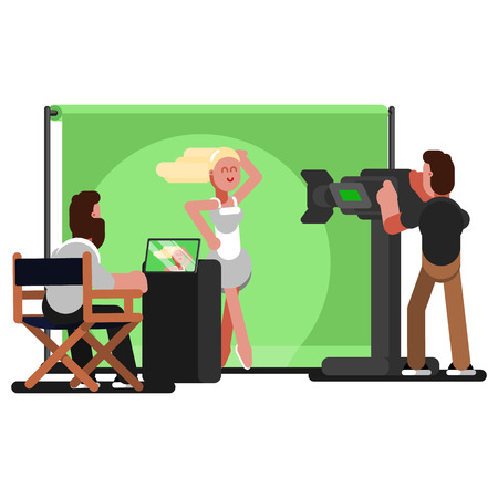 Crew filming a video clip. Vector illustration, EPS 10