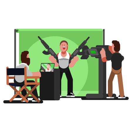 Crew filming a video. Vector illustration Illustration