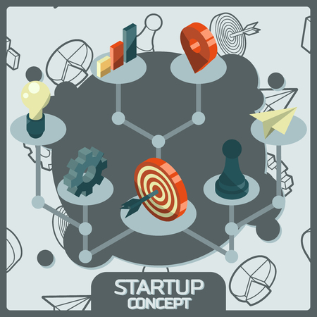 Startup color concept isometric icons