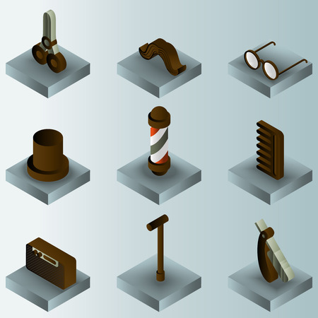 Vintage stuff color gradient isometric icons