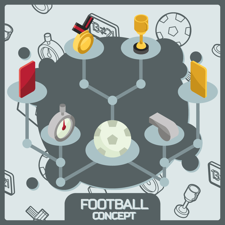 Football color concept isometric icons Illustration