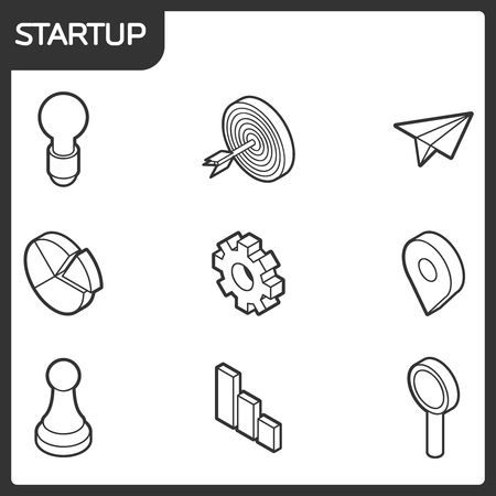 Startup outline isometric icons