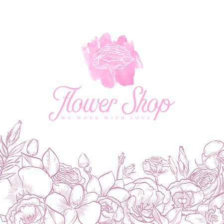 Flower shop logo Illustration
