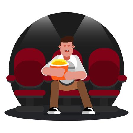 Man watching movie  イラスト・ベクター素材