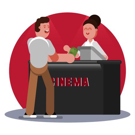 Man buys ticket to cinema Illustration
